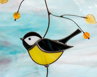Chickadee stained glass art Bird stained glass window hanging suncatcher Christmas gifts