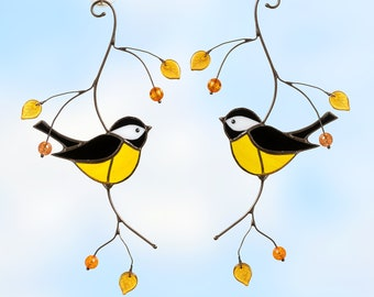 Chickadee stained glass bird suncatcher Christmas gifts