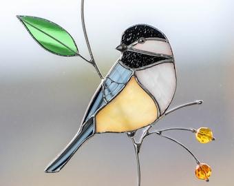 Stained glass chickadee suncatcher Bird stained glass window hangings