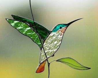 Hummingbird stained glass window hangings Christmas gift  Custom stained glass bird suncatcher Hummingbird gift