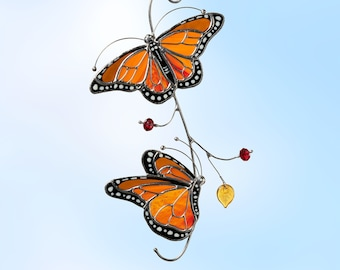 Stained glass monarch butterfly suncatcher Christmas gift Modern stained glass window decor