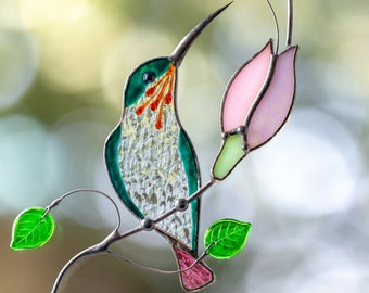 Hummingbird stained glass window hangings Christmas gift Stained glass bird suncatcher