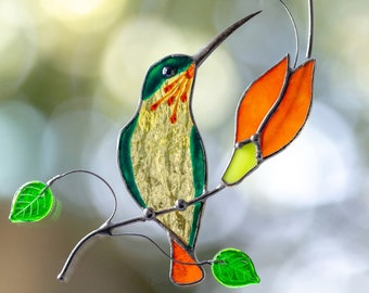 Stained Glass Little Yellow Bird Sun Catcher