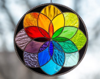 Modern stained glass art Mandala stained glass window hangings Christmas gift