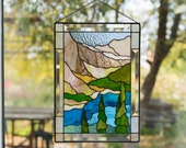 Mountain stained glass panel Banff National park Mothers Day gift Custom stained glass window hangings wanderlust gift