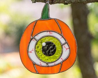 Halloween stained glass pumpkin eye suncatcher Creepy decor Halloween gift