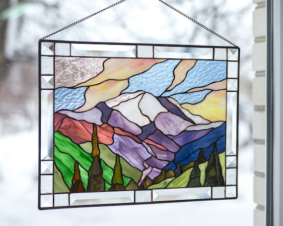 Custom Stained Glass Window Panels.Stained Glass Window Panel Mount Rainier National Park Custom Stained Glass Decor Wedding Parent Gift Modern Stained Glass Window Hangings