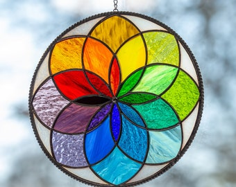 Mandala stained glass panel Christmas gift  Rainbow stained glass window hangings Fathers Day gift