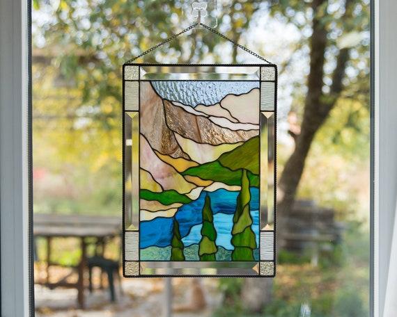 Custom Stained Glass Window Panels.Custom Stained Glass Window Panel Banff National Park Mountain Stained Glass Window Hangings Wanderlust Gift
