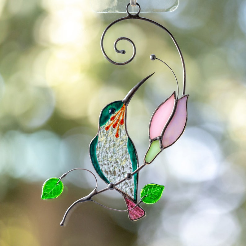 Hummingbird stained glass window hangings Mothers Day gift 1 bird&pink flower