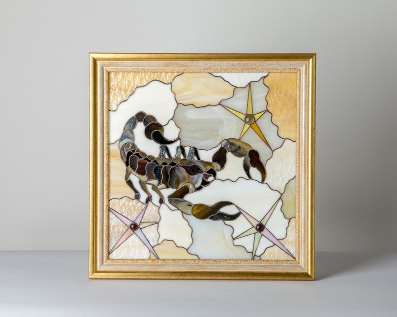 Zodiac sagittarius gift Stained glass panel horoscope gifts Custom stained glass window hangings