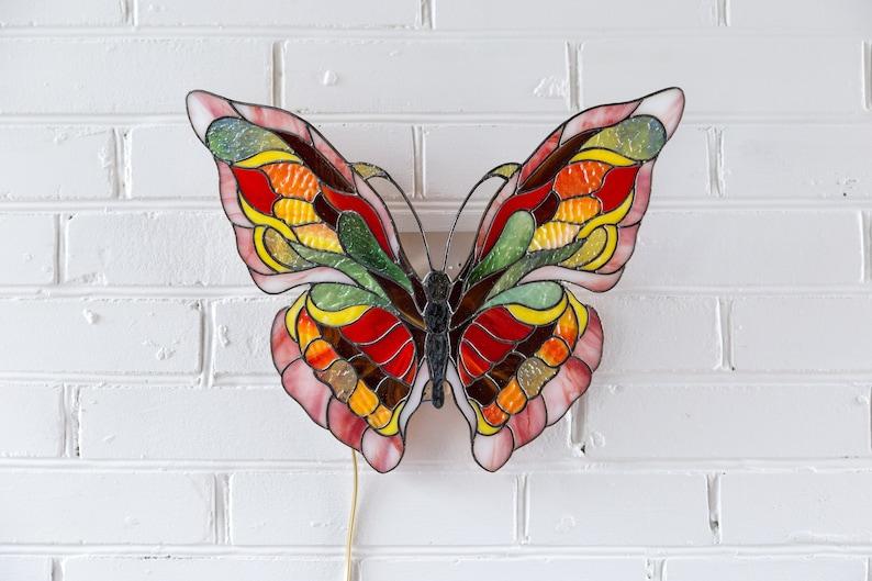 Vitrail papillon monarque lampe tiffany lampe murale applique etsy