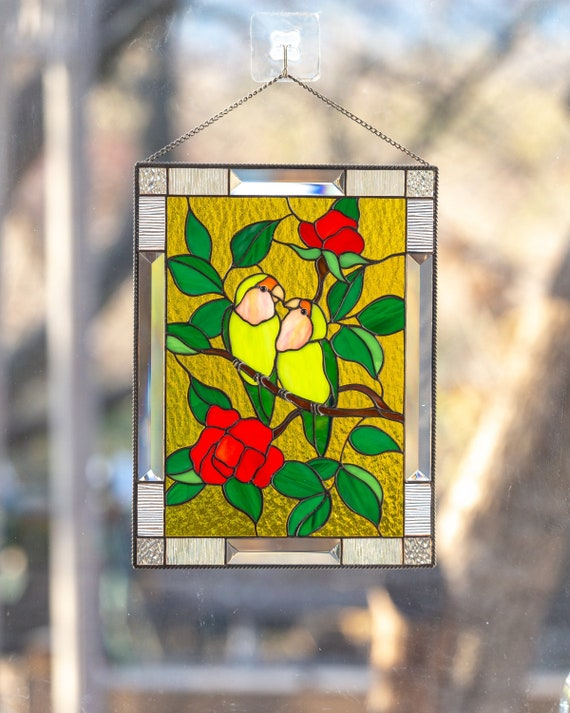 Lovebirds Stained Glass Window Panel Parrot Art Custom Stained Etsy