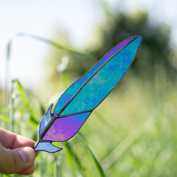 stained glass window hanging glass art STAINED GLASS FEATHER glass feather suncatcher