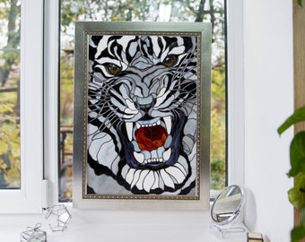 Tiger stained glass panel Christmas gift Custom stained glass animal artwork