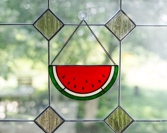Watermelon slice stained glass suncatcher Foodie gift for cook  96864755fe15