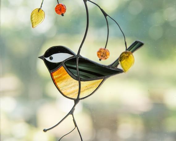 Chickadee Gebrandschilderd Glas Vogel Suncatcher 3e Verjaardag Etsy