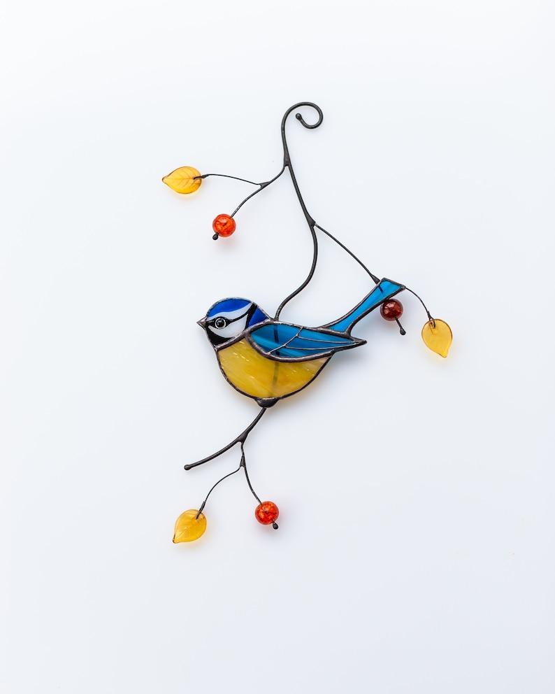 Chickadee stained glass suncatcher British bird stained glass window hangings bird lover gift