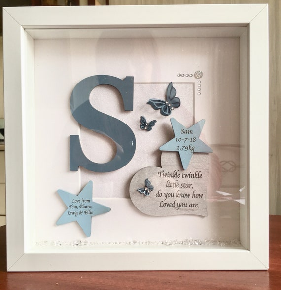Personalised /'Little Man/' Blue Cloud Photo frame New Baby Boy Christening Baby Shower Gift