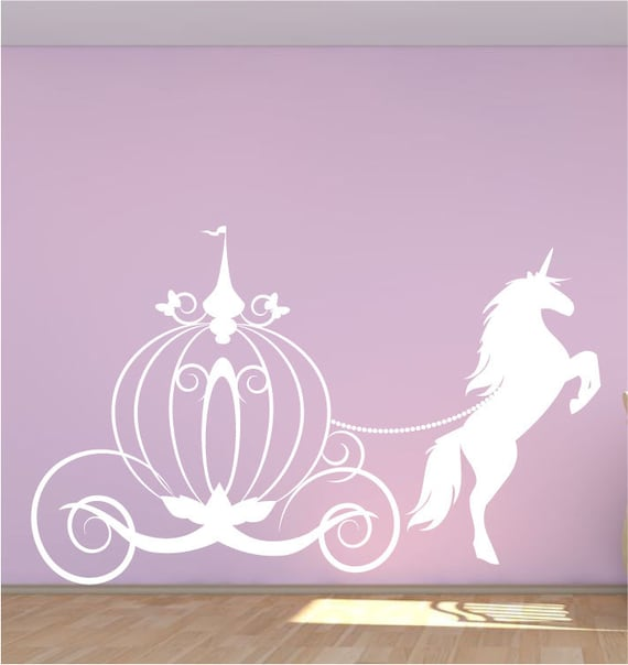 HORSE AND CARRAIGE PRINCESS FAIRY GIRLS cinderellas Vinyl wall art sticker decal