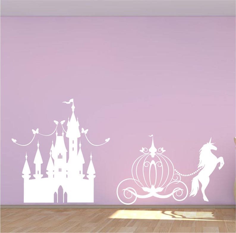 aef1af25bd4d Princess Castle wall decal horse and carriage mural unicorn