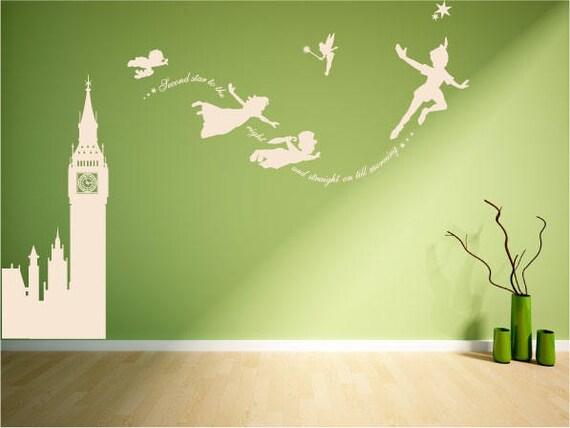 Peter Pan Wandtattoo Big Ben Wandbild Aufkleber Vinyl Set Etsy