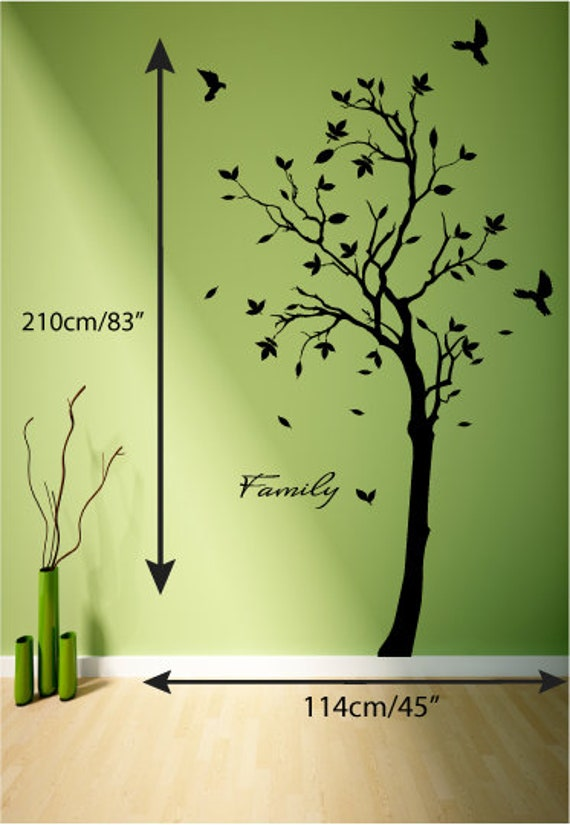 Tree wall decal mural wall sticker doves ravens crows or tweety birds