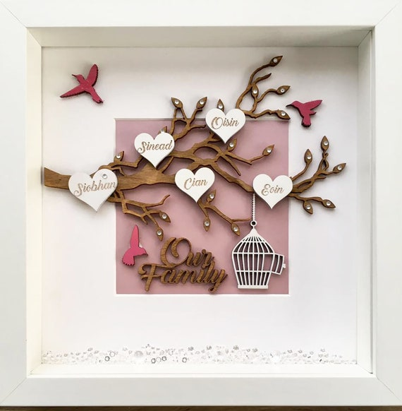 Personalised family tree print in box frame