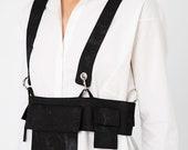 Black Denim Thick Strap Pocket Belt - Corset