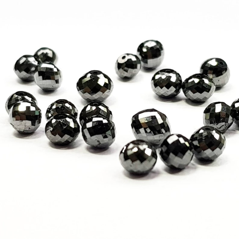 Natura Black Color Roundish Ball/'s Cut Loose Diamond Beads with Drilled Hole 5.00 Ct 4.00 to 4.50 MM Size Natural Diamond Diamond Beads