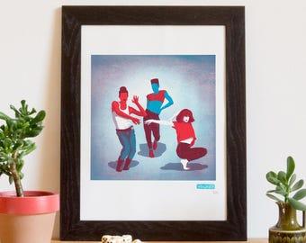 Screen printed poster, art print, dance, vogue, voguing 30 x 40 cm