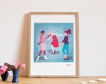 Screen printed poster, art print, dance, Yang, twist, 60's 30 x 40 cm
