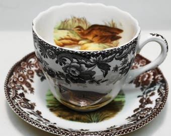 """SPODE CHINA """"WOODLAND"""" Coffee Cup w/Saucer """"2 3/4"""" Scalloped,  Pattern: # S3422"""