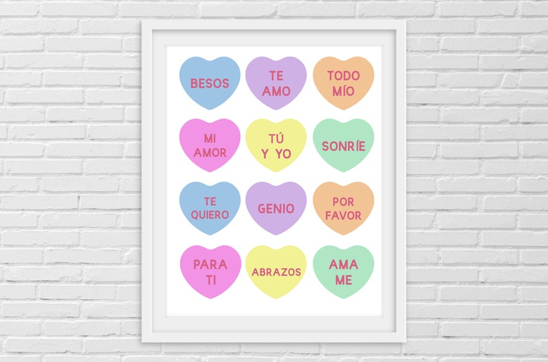 picture relating to Printable Conversation Hearts named Spanish Communication Hearts Printable Indicator for Valentines Working day Immediate Down load Te Amo Besos Amor SPANISH Español Indication Decor
