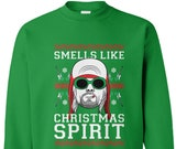 Smells Like Christmas Spirit - Pun Teen Kurt Cobain Rock Band Rockstar Guitar Parody Holiday Party Unisex Xmas Ugly Christmas Sweater