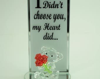 Bear Holding Roses With Plaque