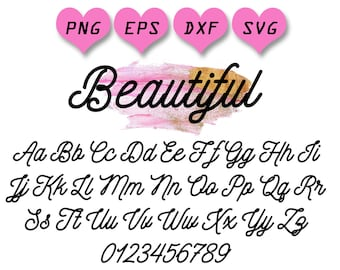 Cute Font Svg Girly Girl Handwritten Curly Letters Alphabet For Circut Beautiful