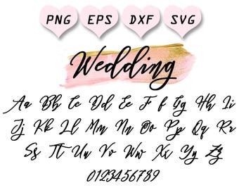 Wedding Calligraphy Letters Svg Alphabet Font Monogram Cursive