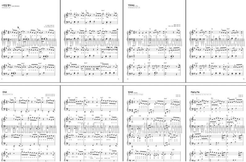 Facile da suonare K-POP Piano & Lyrics Sheet Music Book per l'inizio