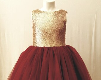 b4b9155b01 Sequin gold burgandy flower girl dress tulle skirt formal rose sequin dress  sizes 6m to 12 plum maroon cranberry can be customized