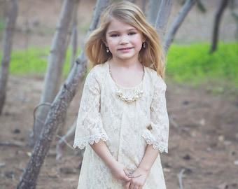 Vintage Lace Rustic flower girl dress girls lace dress lace dress toddler lace dress boho flower girl dress flower girl dress lace