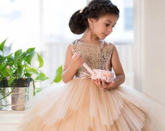 524aa076551 Flower Girl Dress sequin Glam Blush