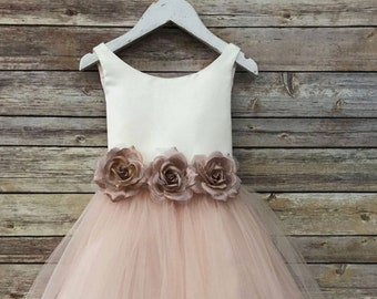 889b2f5e2d5 Ella Dress-two tone colored tulle dress with flower belt sash flower girls  blush