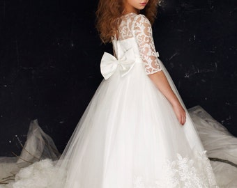 0f1e05ff60b5 Lily Dress - first communion long sleeve girls flowergirl lace holy communion  dress accessories