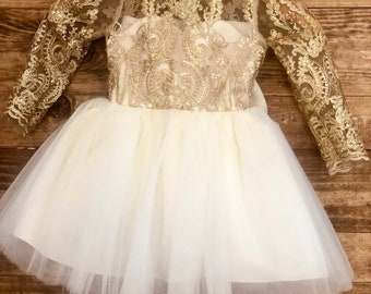 7d68e32500e6 Ariella Dress- long sleeve lace gold ivory white Christmas dress holiday  flowergirl dress special occasion sunday dress lace sequin gold