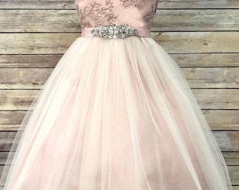 c76473f2e Sam Dress - mauve flowergirl dress dusty rose vintage sequin lace dress  princess glitter tulle jr bridesmaid dress fancy