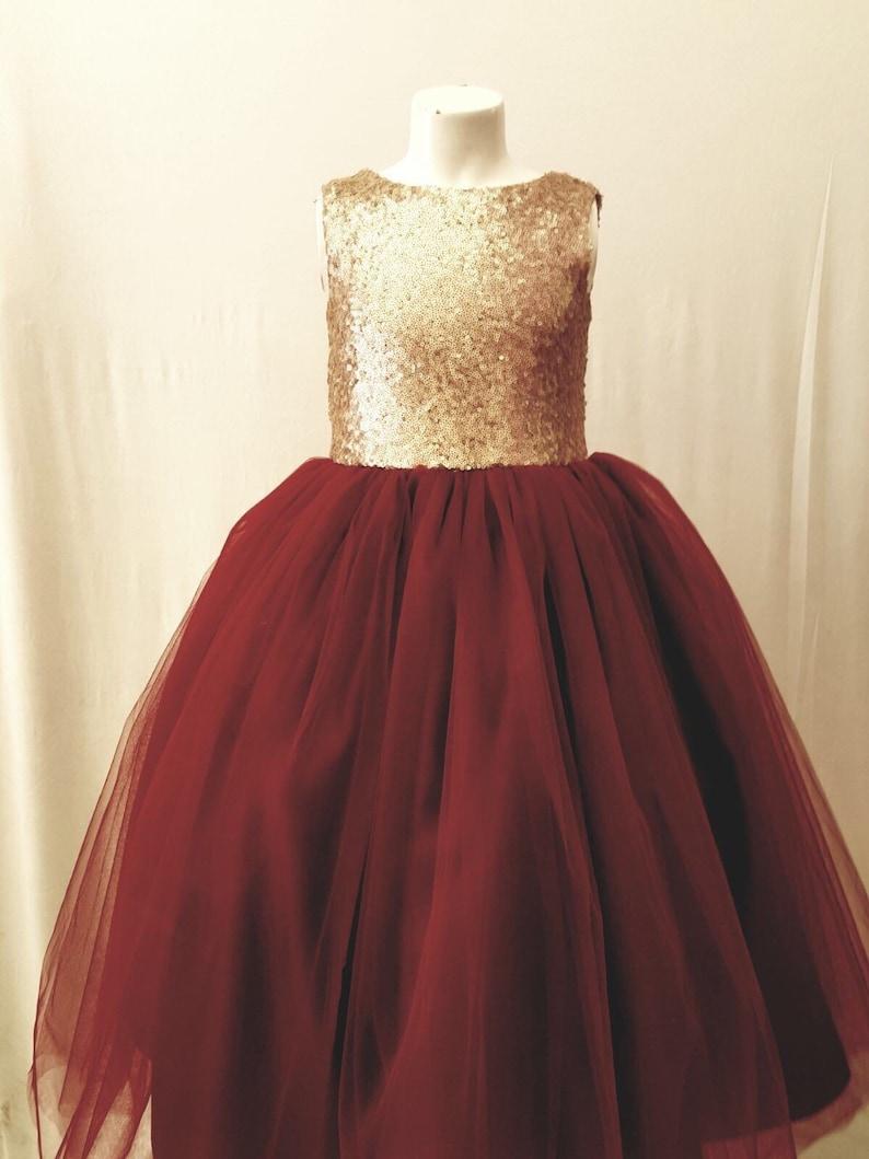 730b55e5350 Sequin gold burgandy flower girl dress tulle skirt formal rose