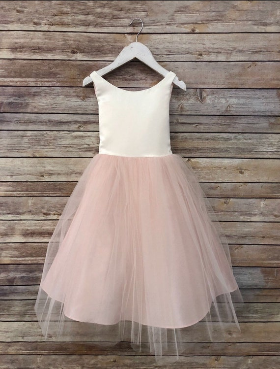 Blush Classic Simple Satin and Tulle Flower Girl Dress 6m to size 16 Girls Comes in Champagne, Blush, Purple Green Grey dusty rose