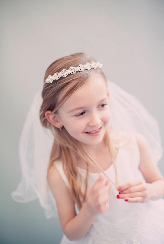 Pearl Decorated Communion Veil without Crown