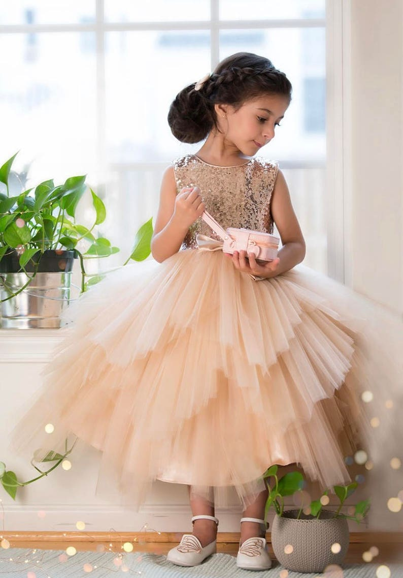 73e4b0069a5 Flower Girl Dress sequin Glam Blush Rose Gold  Champagne and